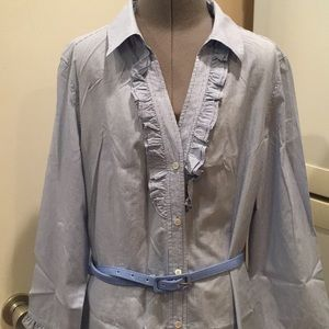 Talbots Oxford Ruffle Dress NWOT size 10